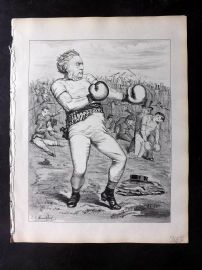 E. C. Mountfort - Dart 1880's Political Cartoon. Boxing
